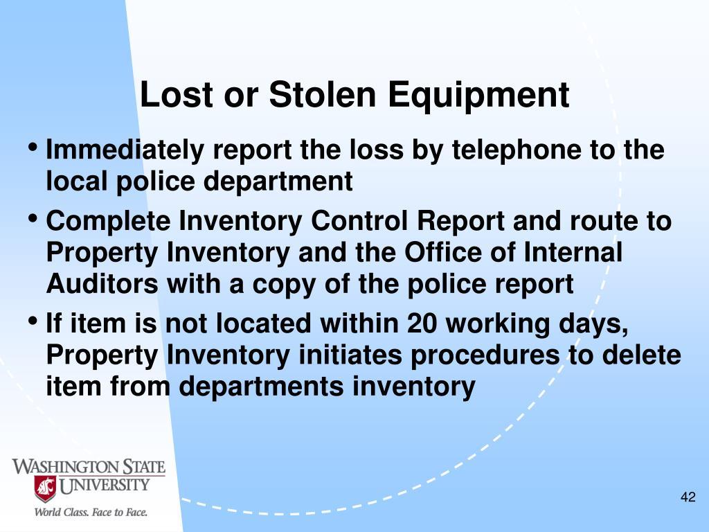 Lost or Stolen Equipment