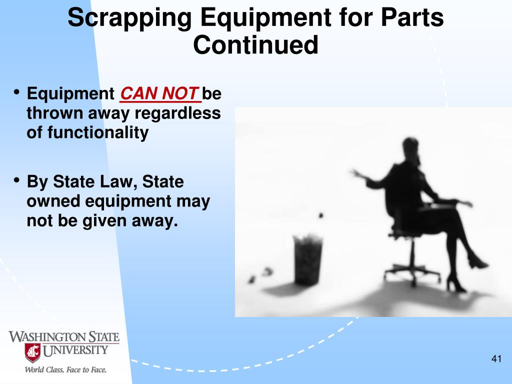 Scrapping Equipment for Parts Continued