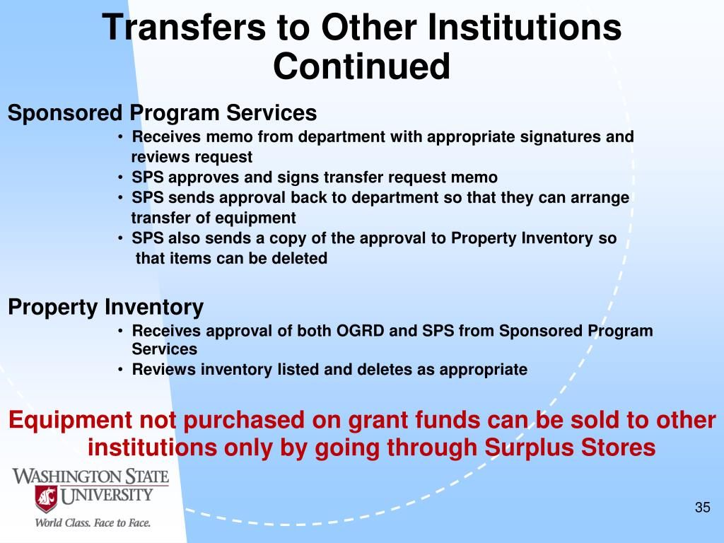 Transfers to Other Institutions Continued