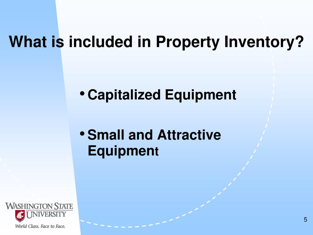 What is included in Property Inventory?