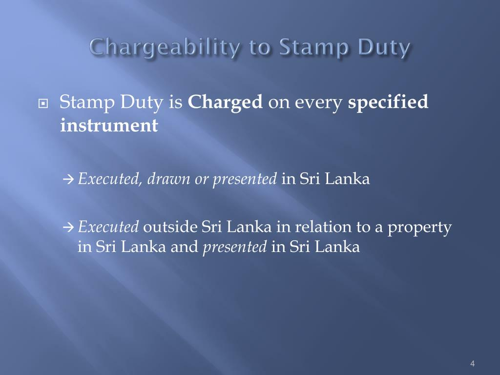 Chargeability to Stamp Duty