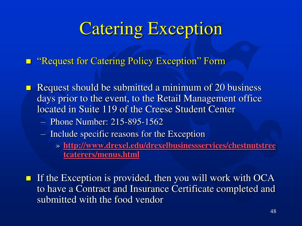Catering Exception