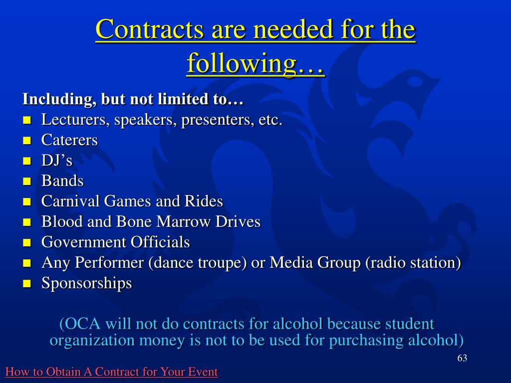 Contracts are needed for the following…
