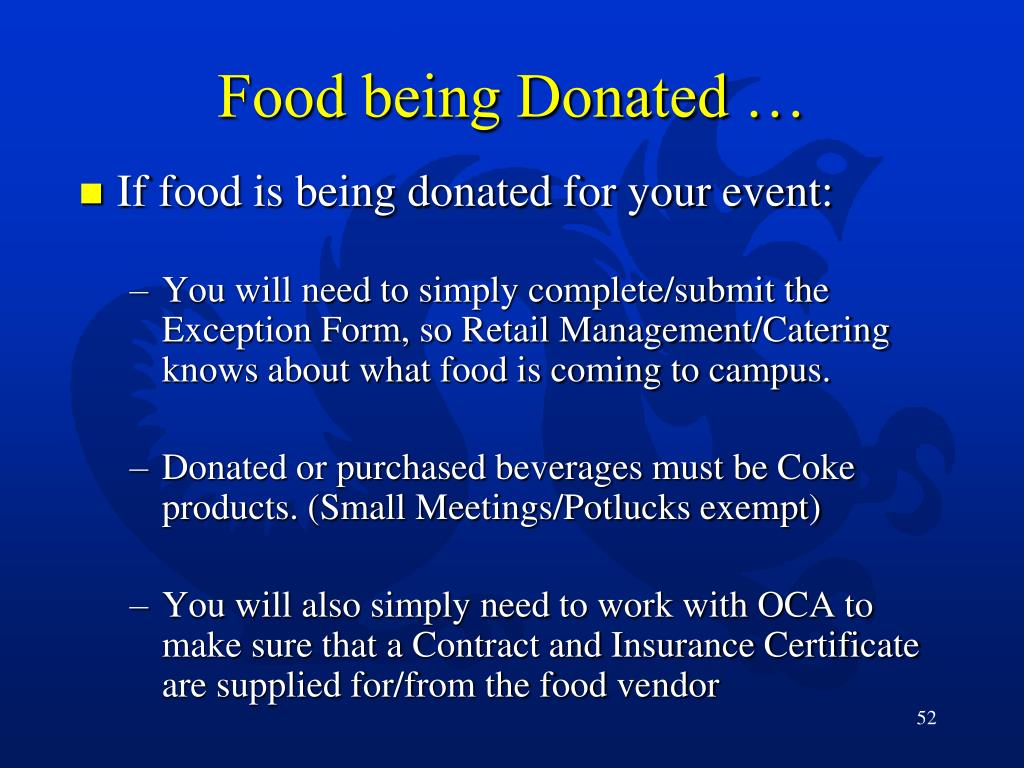 Food being Donated …