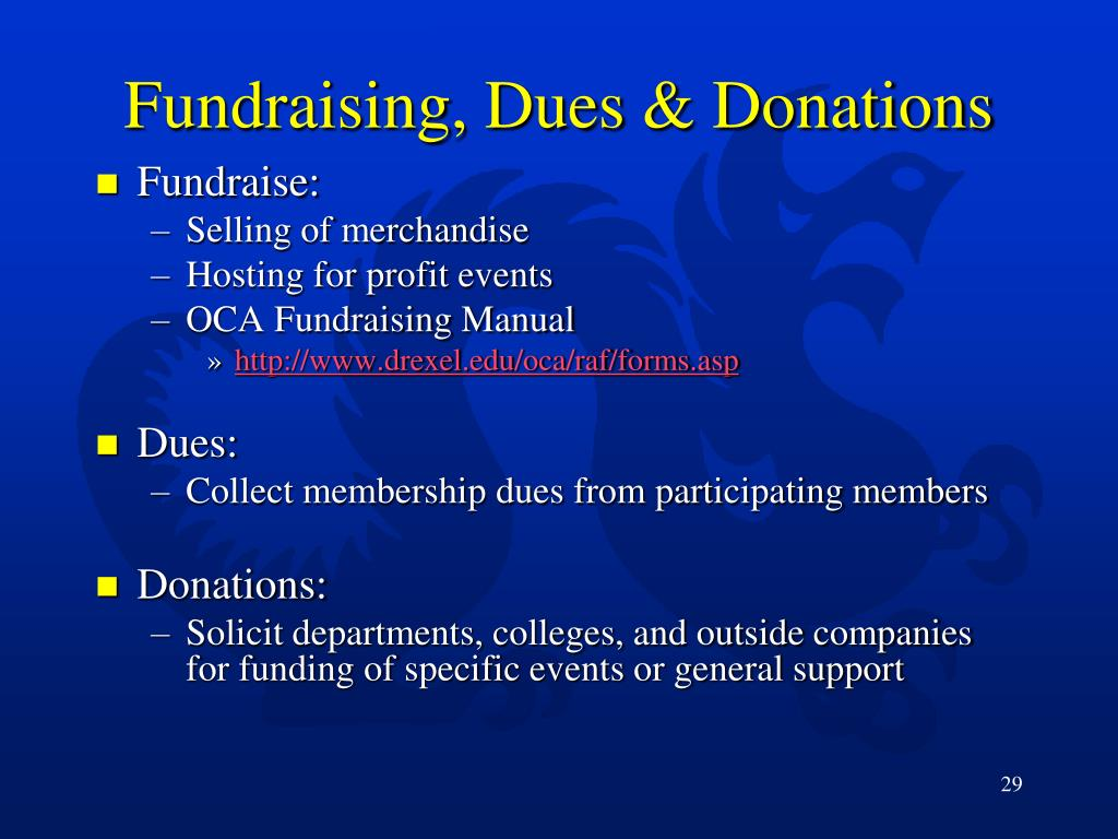 Fundraising, Dues & Donations