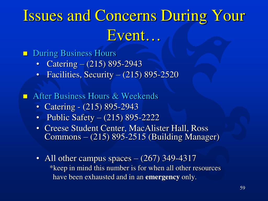 Issues and Concerns During Your Event…