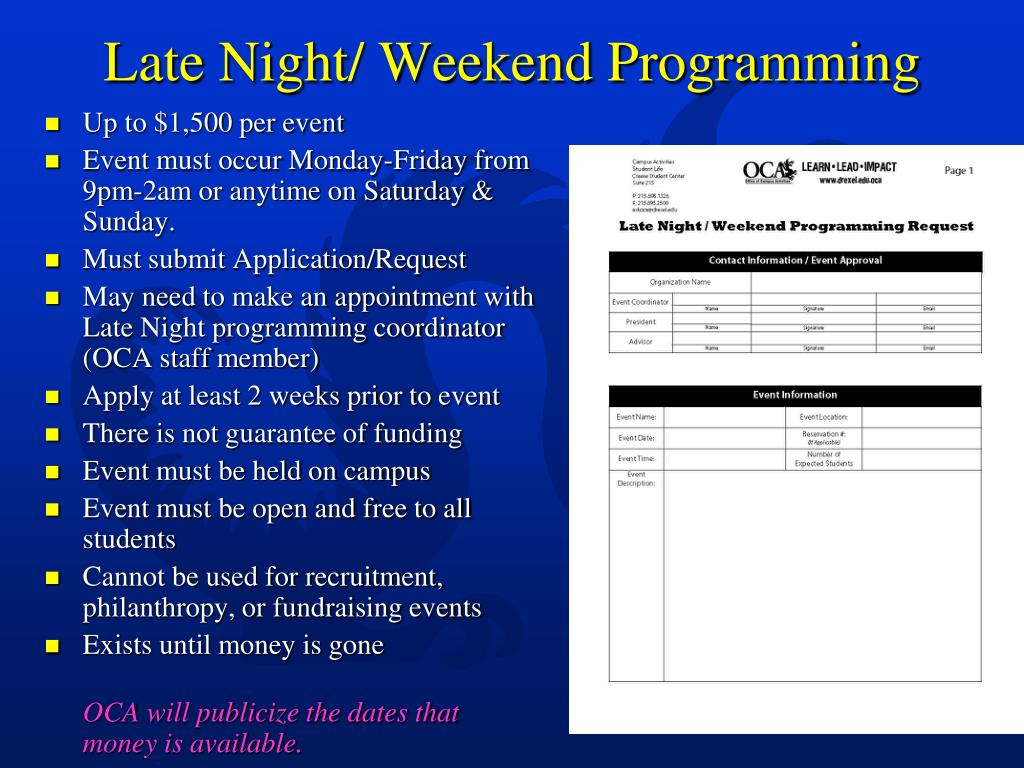 Late Night/ Weekend Programming