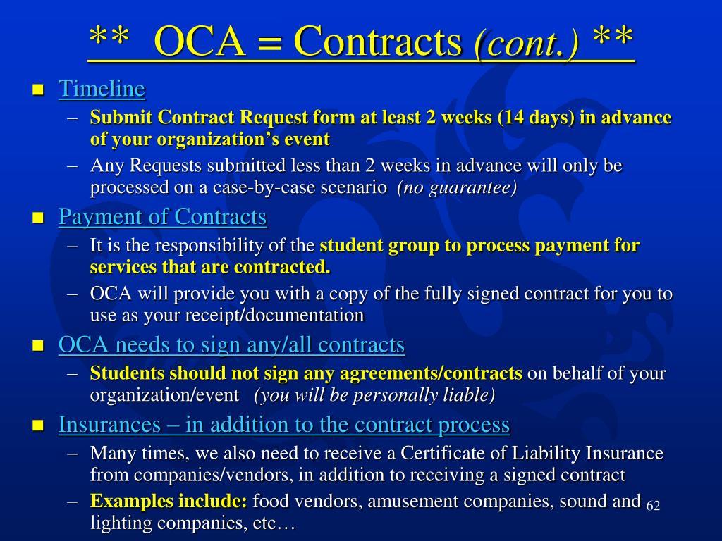 **  OCA = Contracts