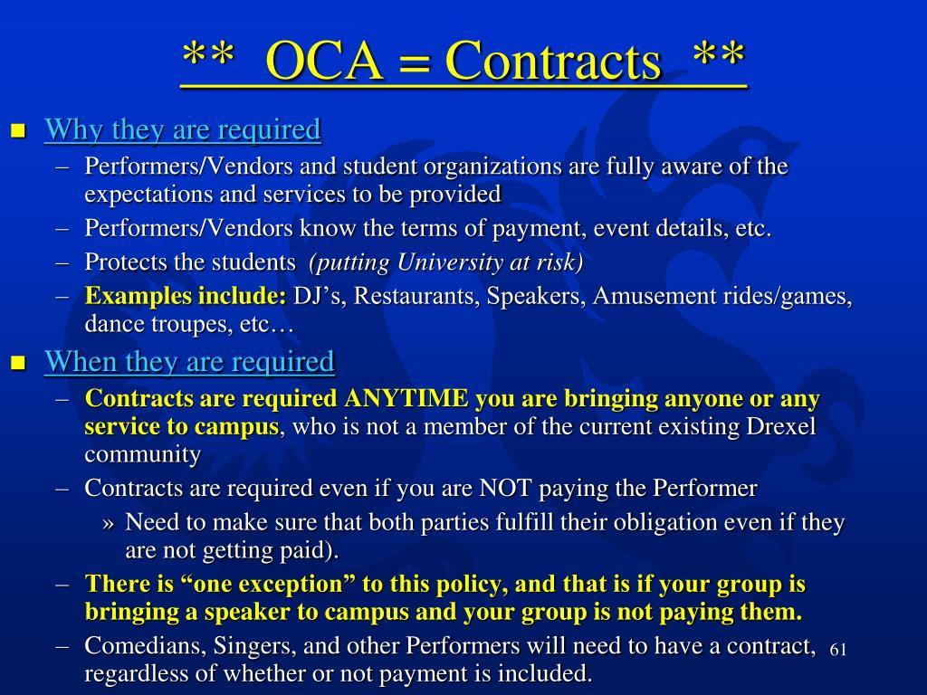 **  OCA = Contracts  **
