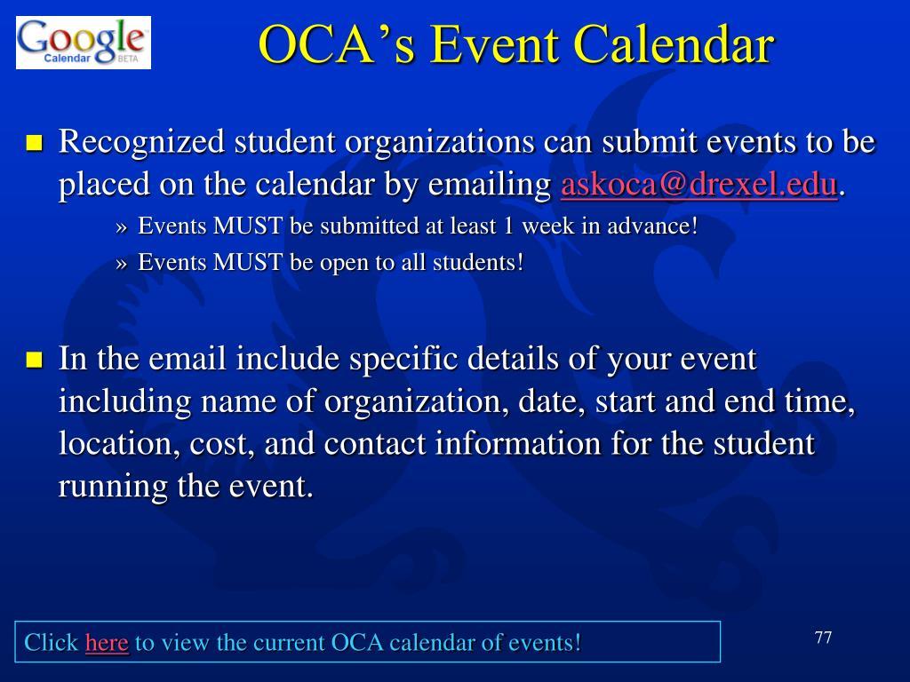 OCA's Event Calendar