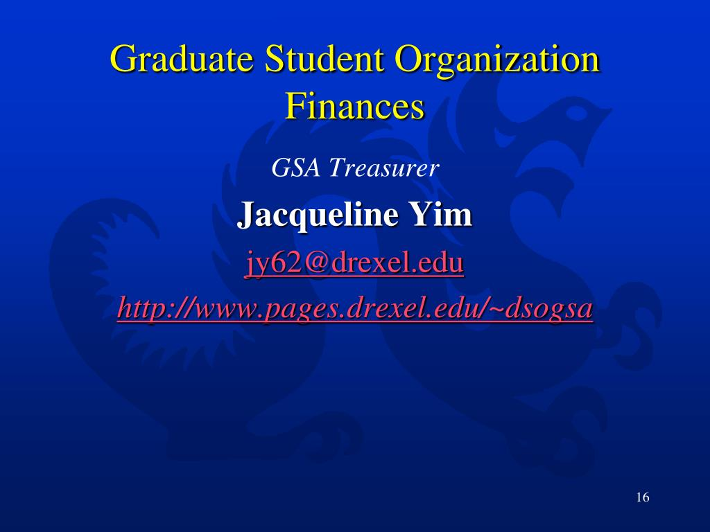 Graduate Student Organization Finances