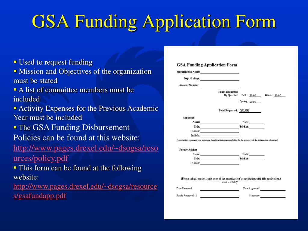 GSA Funding Application Form