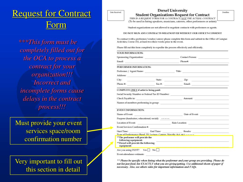 Request for Contract Form