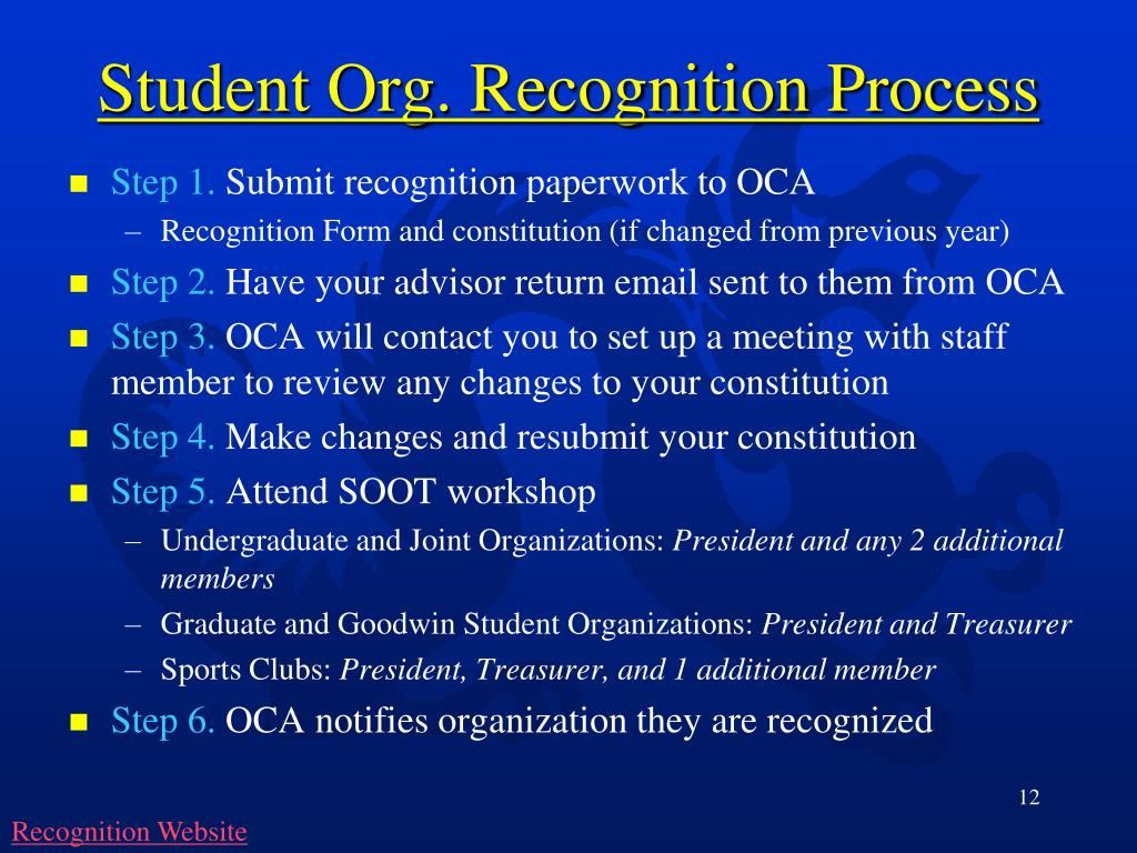 Student Org. Recognition Process