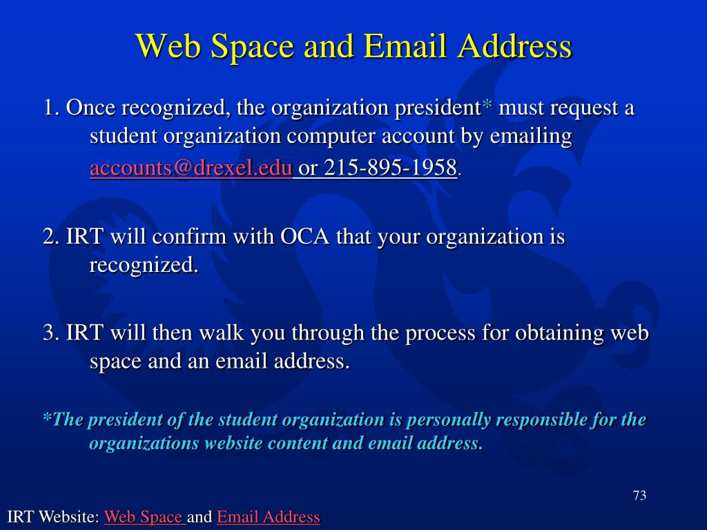 Web Space and Email Address