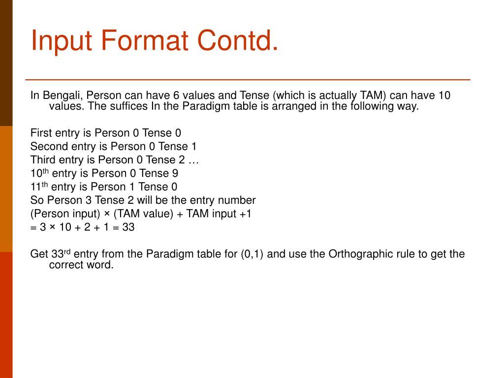 Input Format Contd.