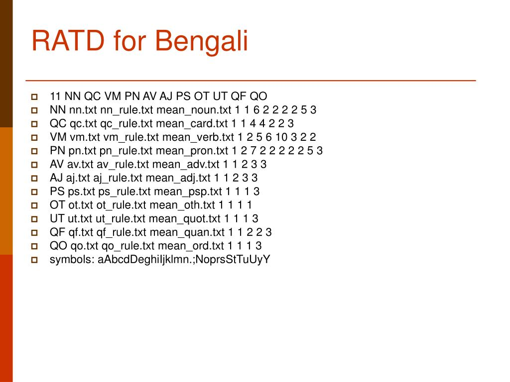 RATD for Bengali