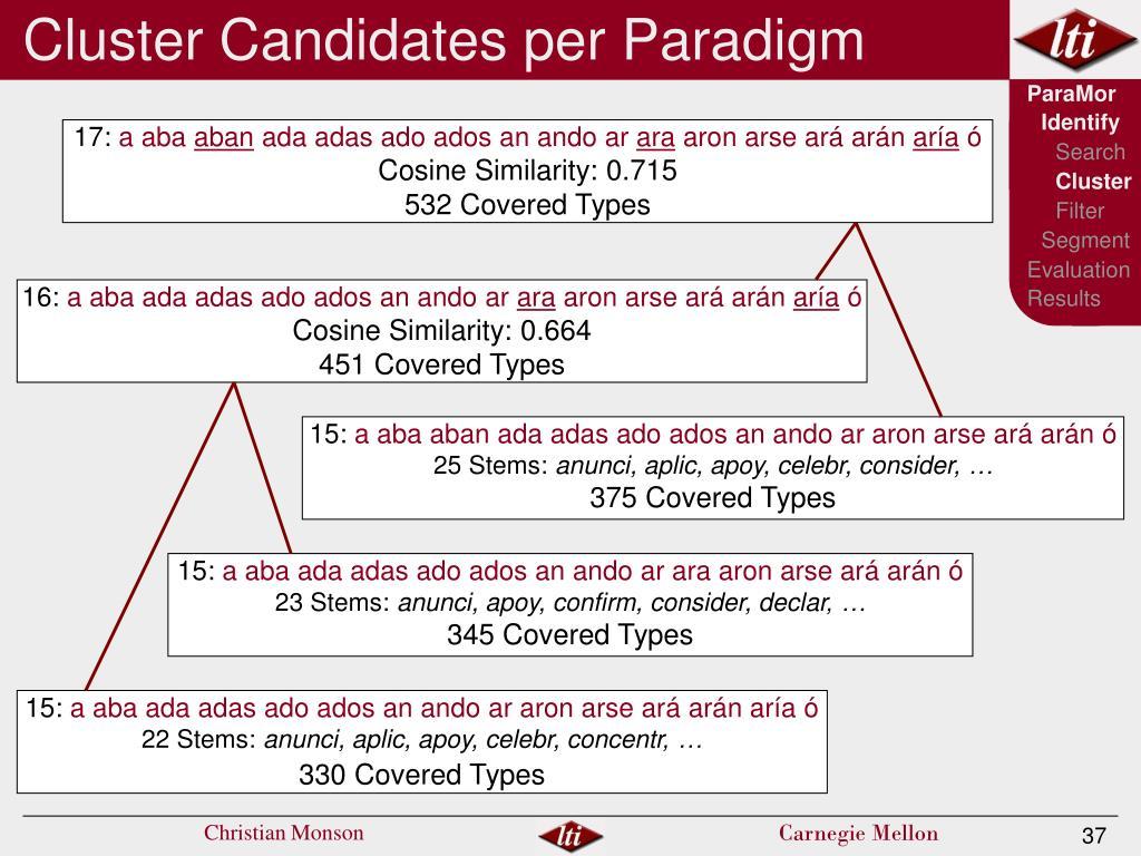 Cluster Candidates per Paradigm
