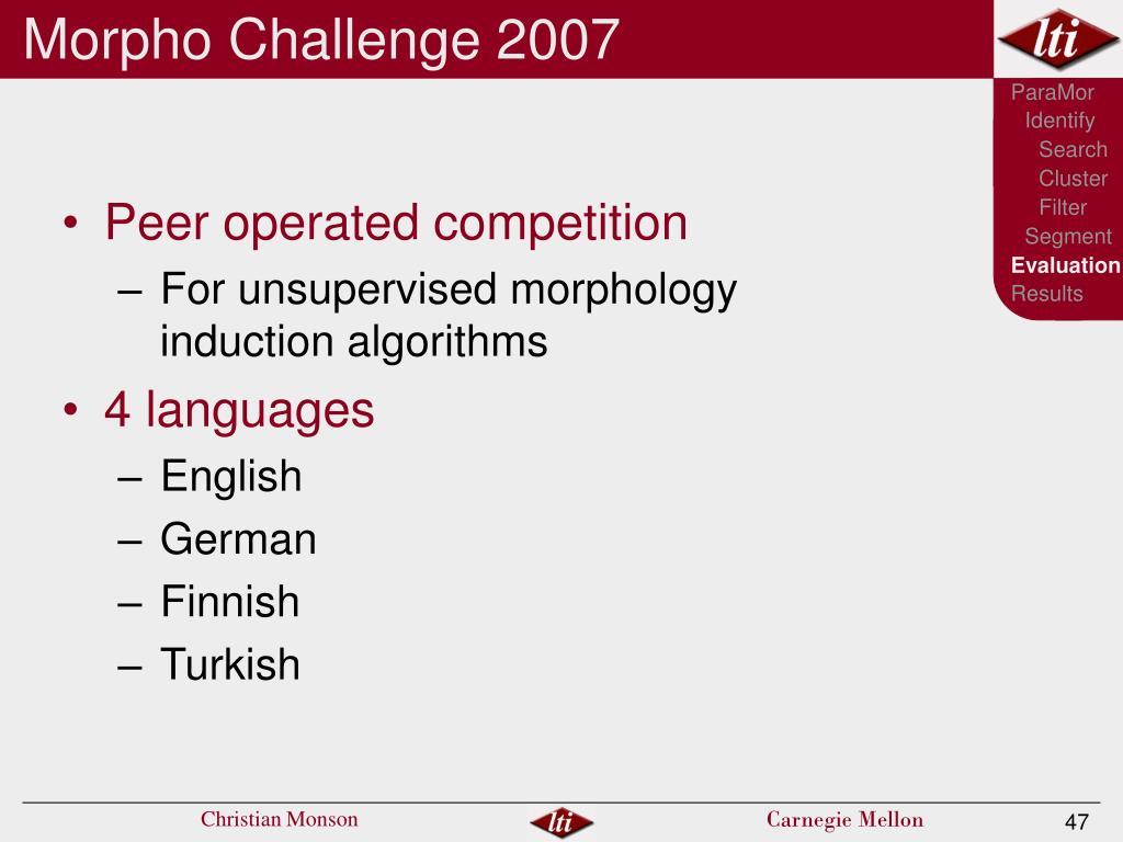 Morpho Challenge 2007