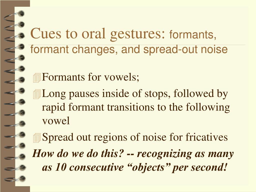 Cues to oral gestures: