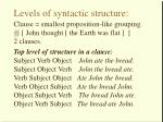 levels of syntactic structure