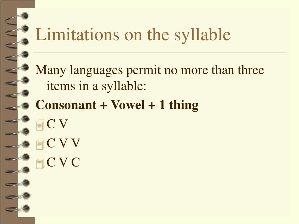 Limitations on the syllable
