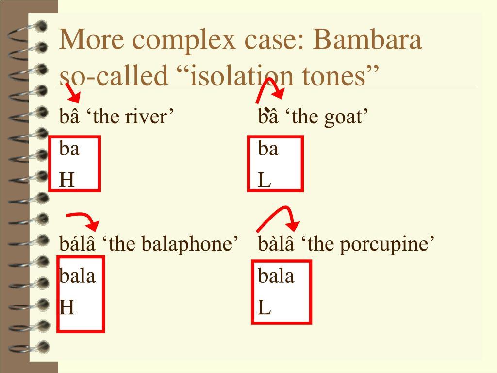 More complex case: Bambara