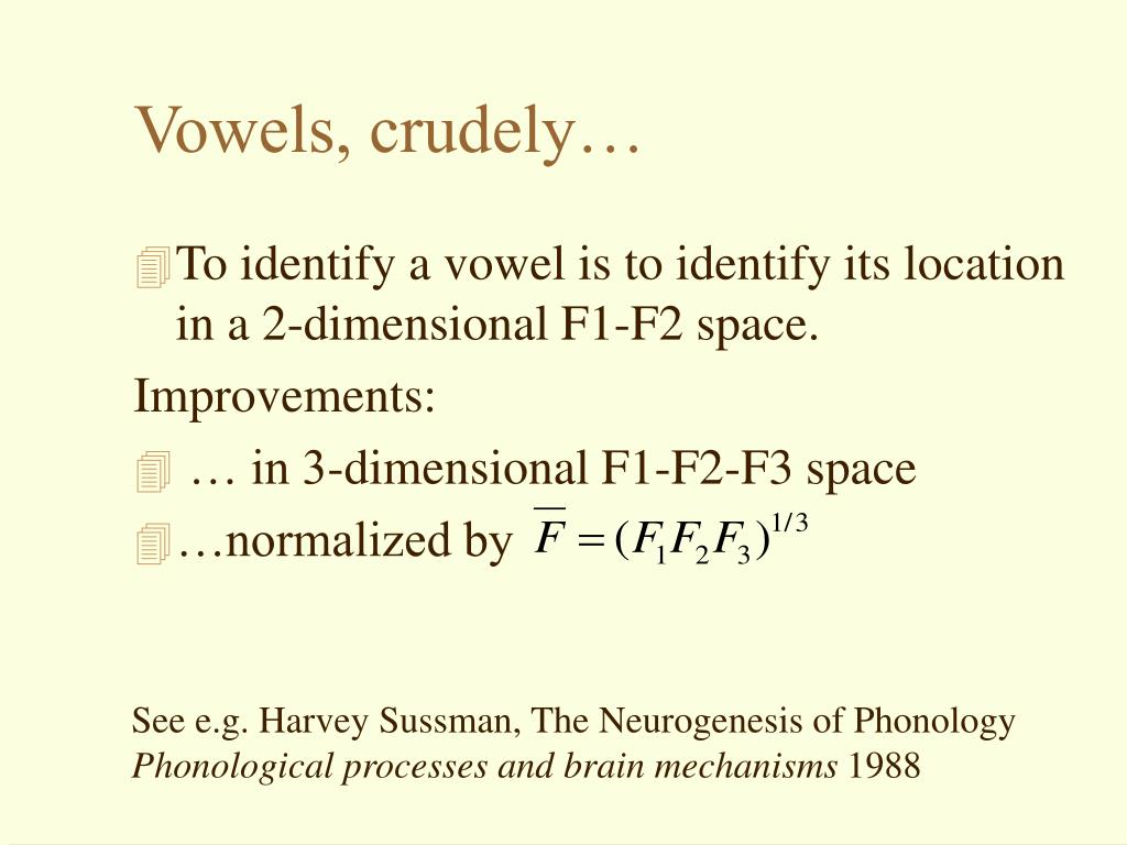 Vowels, crudely…
