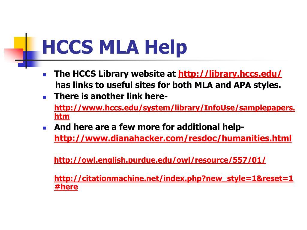 HCCS MLA Help