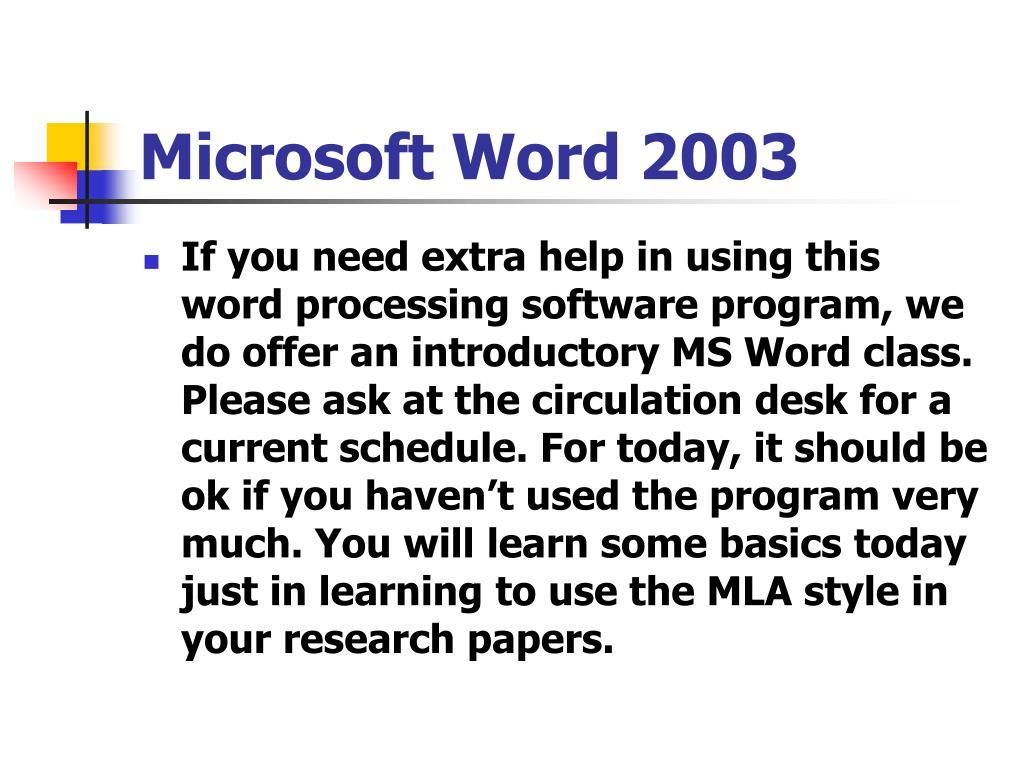 Microsoft Word 2003