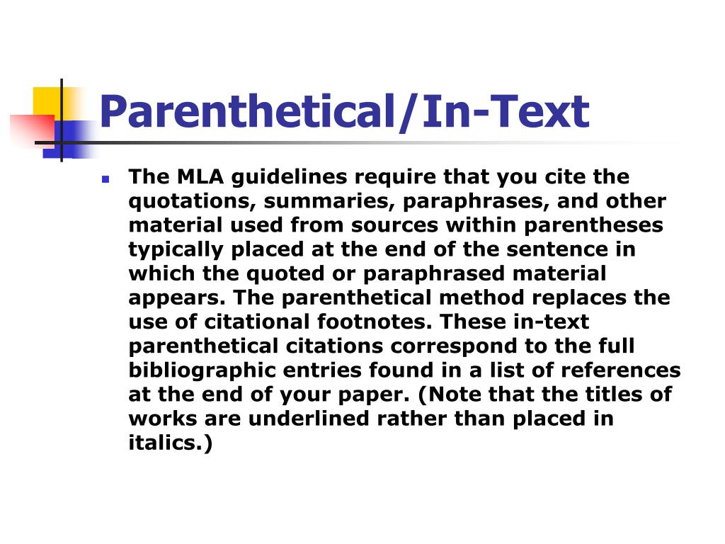 Parenthetical/In-Text