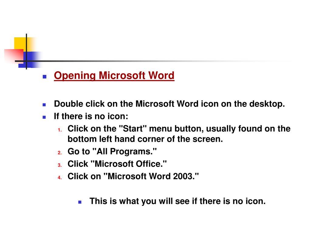 Opening Microsoft Word