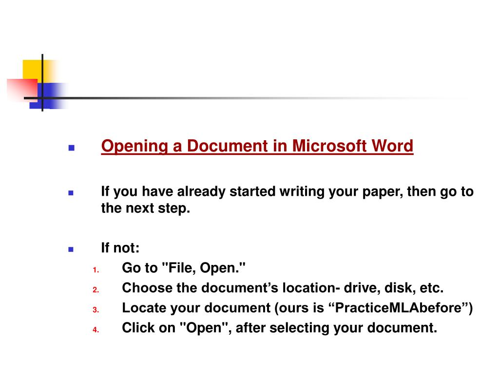 Opening a Document in Microsoft Word