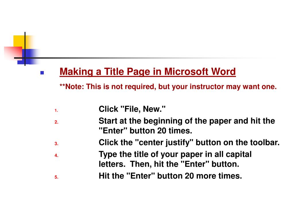 Making a Title Page in Microsoft Word
