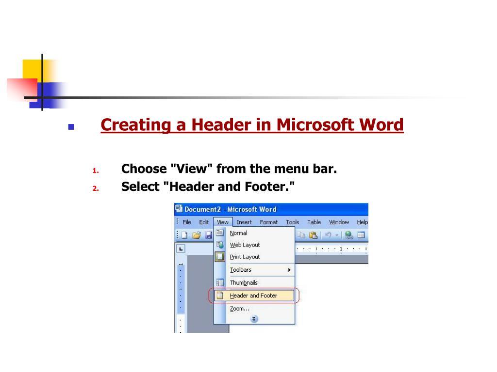 Creating a Header in Microsoft Word