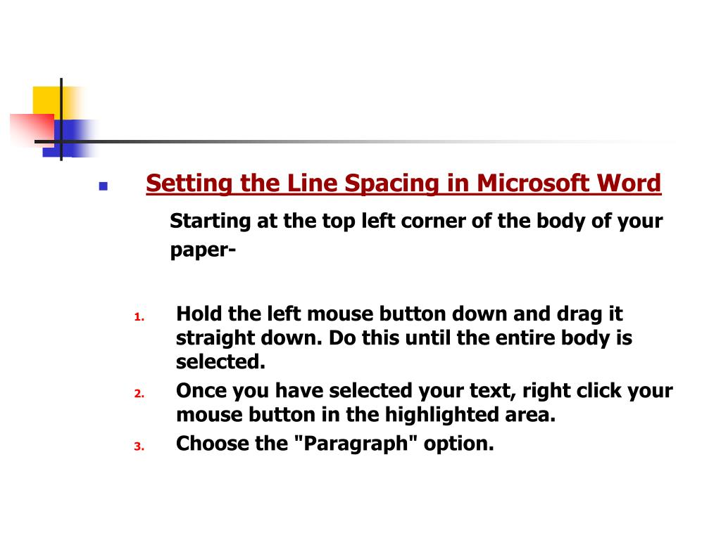 Setting the Line Spacing in Microsoft Word