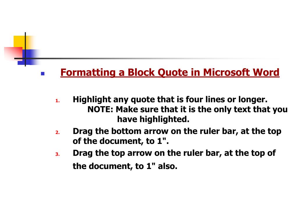 Formatting a Block Quote in Microsoft Word
