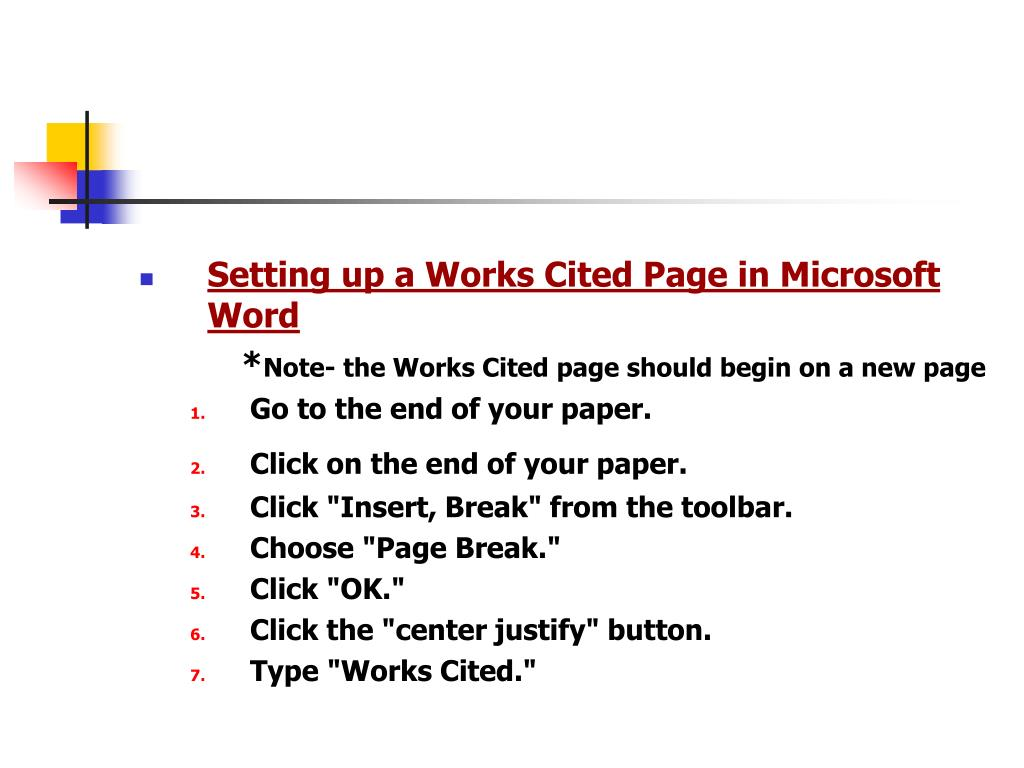 Setting up a Works Cited Page in Microsoft Word