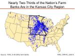 nearly two thirds of the nation s farm banks are in the kansas city region