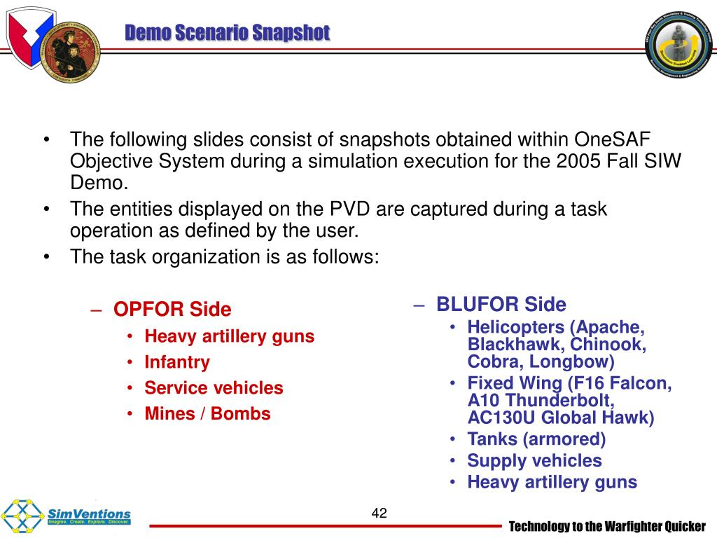 The following slides consist of snapshots obtained within OneSAF Objective System during a simulation execution for the 2005 Fall SIW Demo.