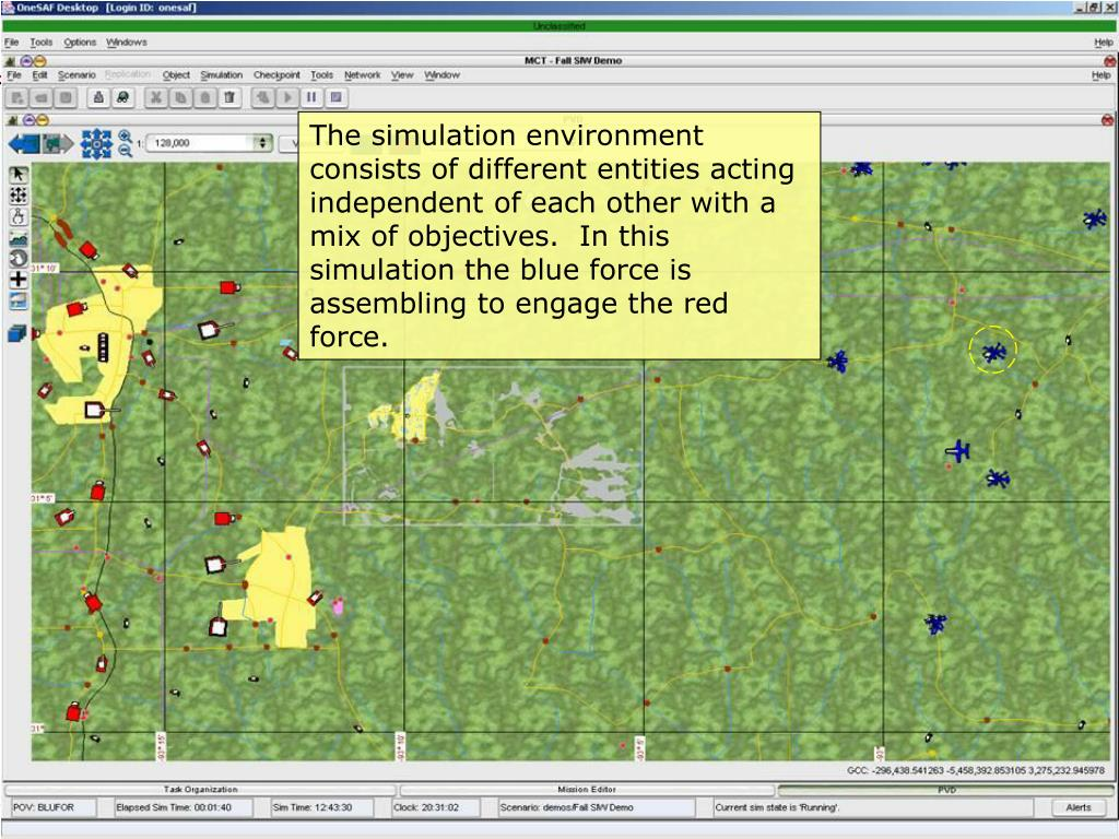 The simulation environment consists of different entities acting independent of each other with a mix of objectives.  In this simulation the blue force is assembling to engage the red force.