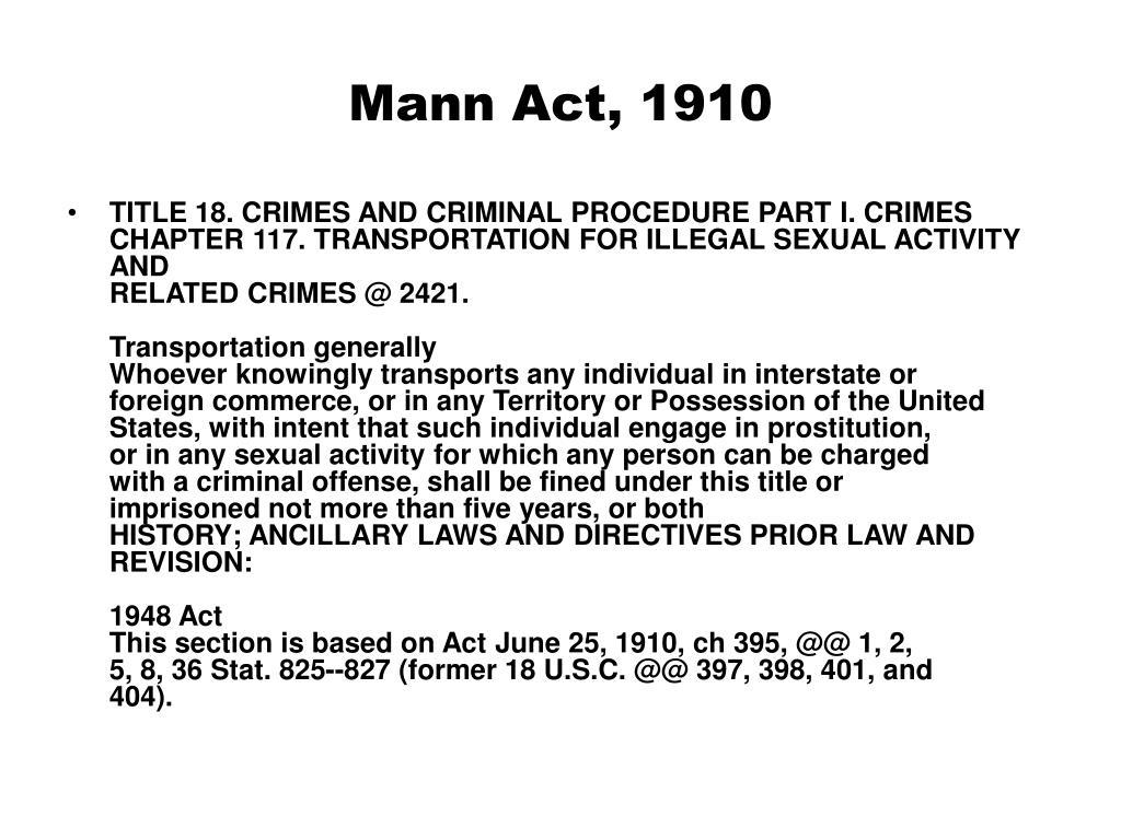Mann Act, 1910