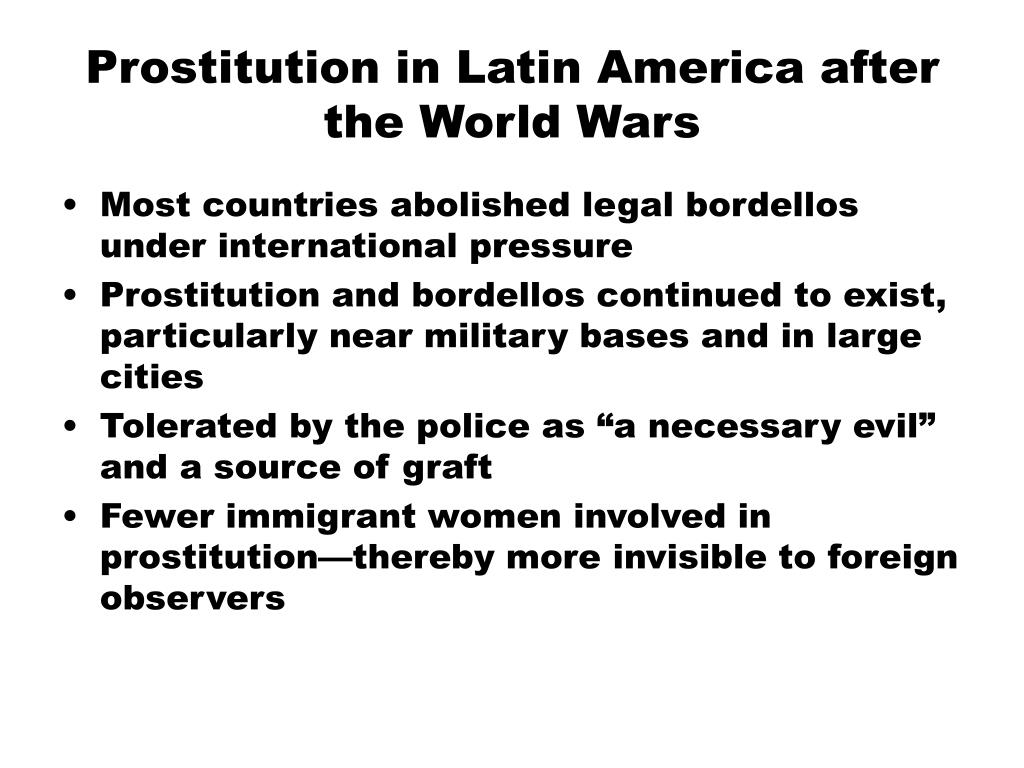 Prostitution in Latin America after the World Wars