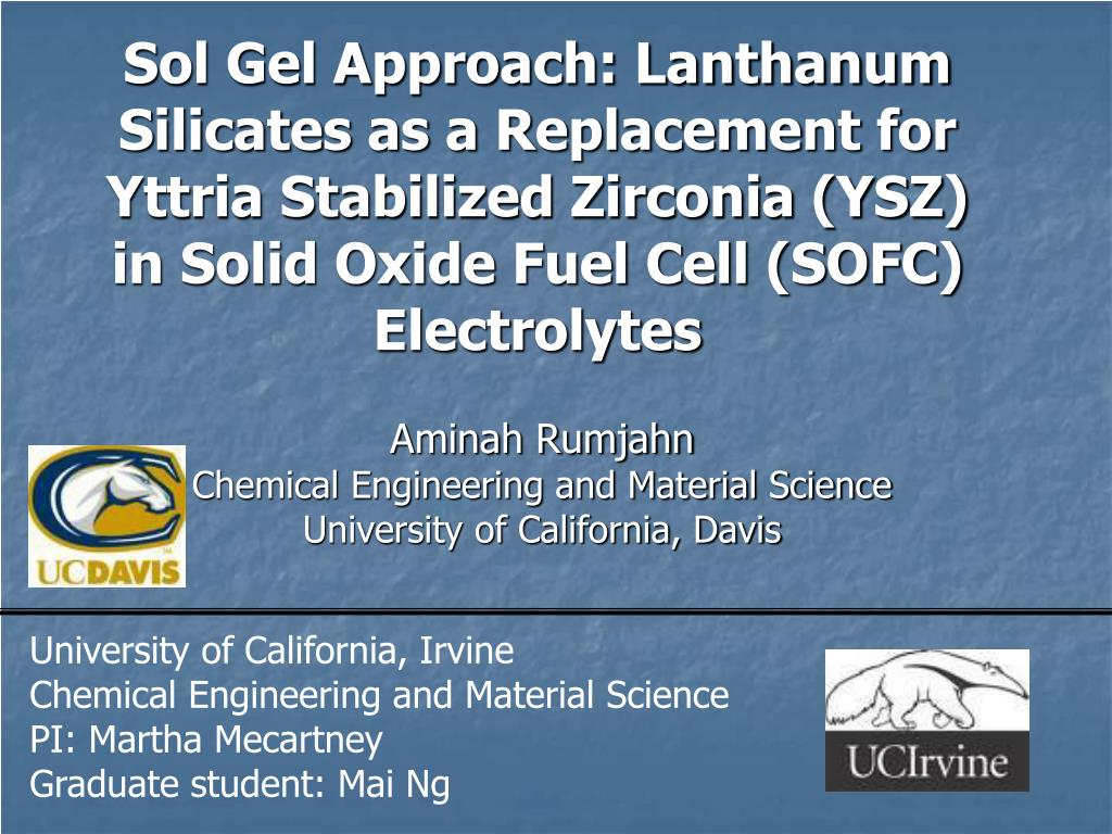 Sol Gel Approach: Lanthanum Silicates as a Replacement for Yttria Stabilized Zirconia (YSZ) in Solid Oxide Fuel Cell (SOFC) Electrolytes