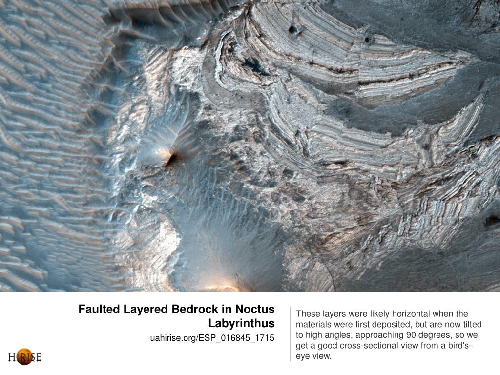 Faulted Layered Bedrock in Noctus Labyrinthus