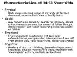characteristics of 14 18 year olds