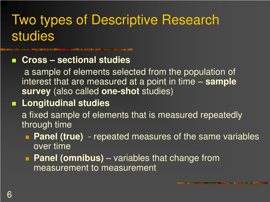 Two types of Descriptive Research studies