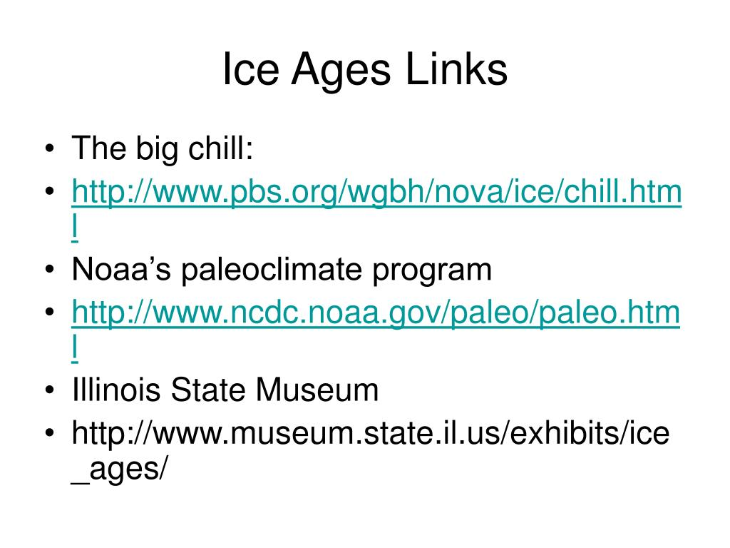Ice Ages Links