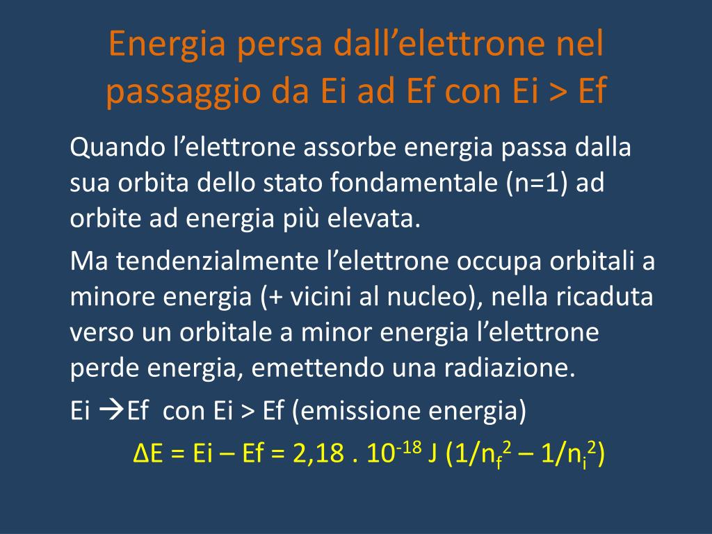 Energia persa dall'elettrone nel passaggio da Ei ad