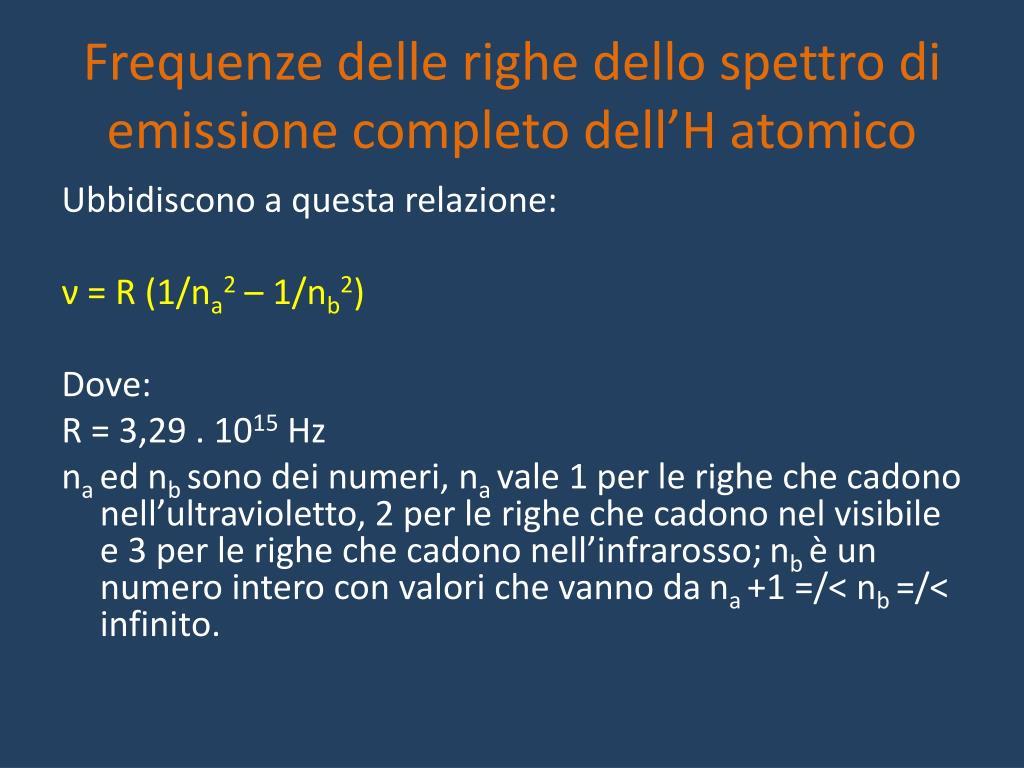 Frequenze delle righe dello spettro di emissione completo dell'H atomico